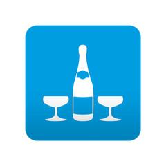Etiqueta tipo app azul simbolo botella de champan