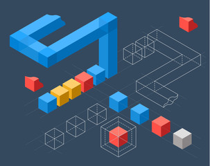 Infographics with flat colored cubes