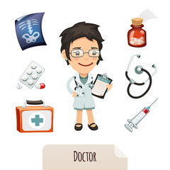 Medical set with a female doctor. Clipping paths included.