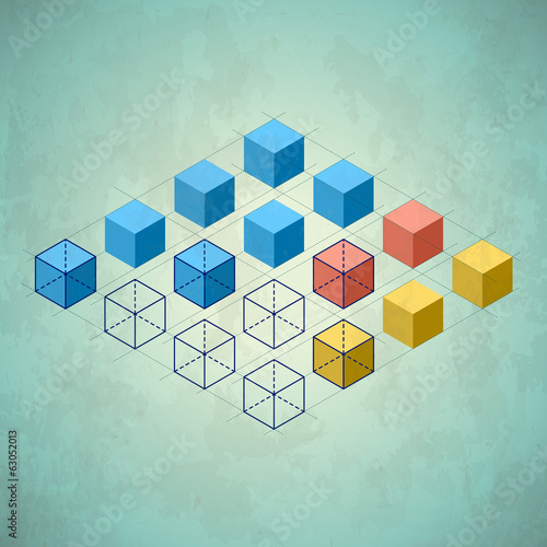 Infographics with cubes. Diamond shaped plane