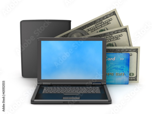 Personal computer, dollars, credit card and leather wallet