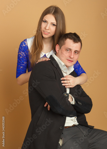 beautiful guy and girl in business clothes