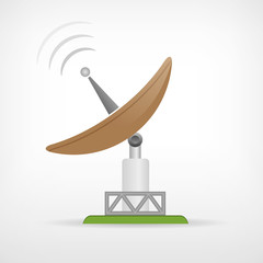 Isolated satellite communication parabolic antenna icon