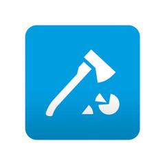 Etiqueta tipo app azul simbolo leña
