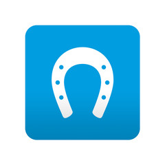 Etiqueta tipo app azul simbolo herradura