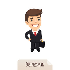 Businessman with a briefcase. Clipping paths included.