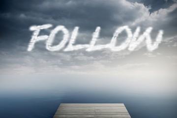 Follow against cloudy sky over ocean
