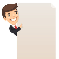 Businessman and blank poster. Clipping paths included.