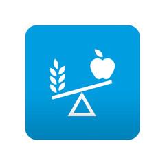 Etiqueta tipo app azul simbolo dieta equilibrada
