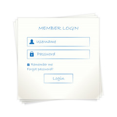 Web login form (page) template  on note paper