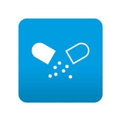 Etiqueta tipo app azul simbolo medicina