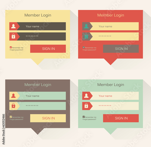 Set of web login form templates, modern flat user interface
