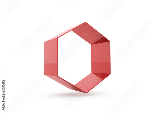 Red hexagonal cell on white