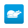 Etiqueta tipo app azul simbolo pollo asado