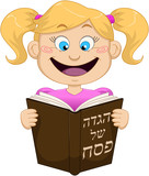Fototapety Girl Reading From Haggadah For Passover
