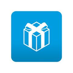 Etiqueta tipo app azul simbolo regalo