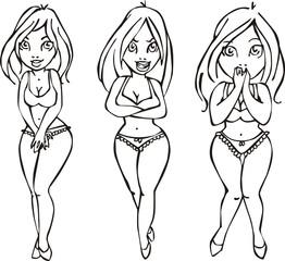 Three pretty girls in swimsuits