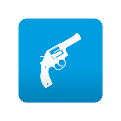 Etiqueta tipo app azul simbolo pistola