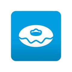 Etiqueta tipo app azul simbolo rosquilla