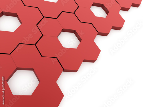 Red hexagonal background rendered