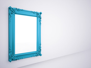 Blue mirror frame rendered