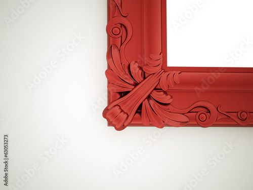 Red mirror frame