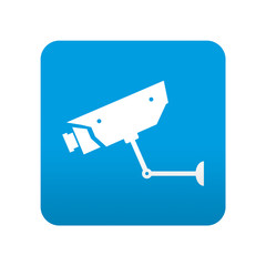 Etiqueta tipo app azul simbolo camara de seguridad