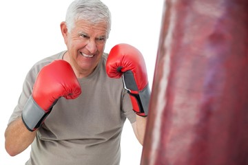 Portrait of a determined senior boxer