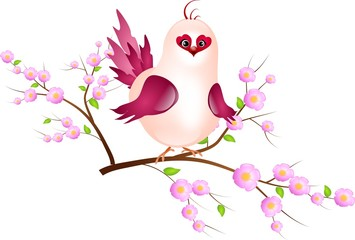 Pink bird on twig