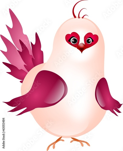 Pink happy bird