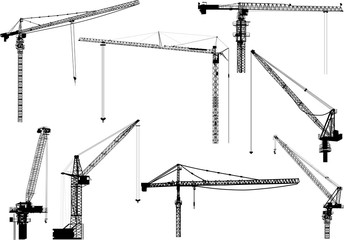 eight black building cranes on white