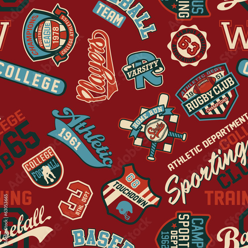 Vector seamless pattern of sport badges