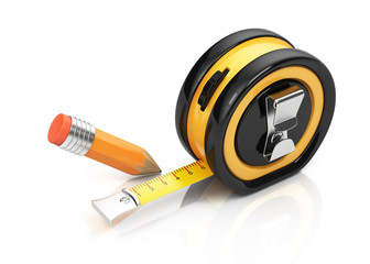 Tape measure and pencil