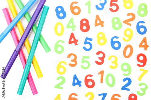 Colorful numbers and markers, isolated on white