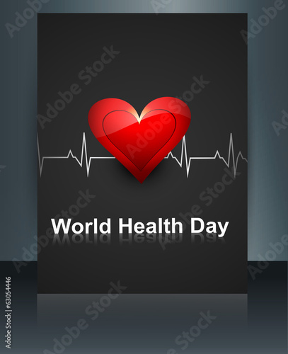 World health day template brochure with heart beats medical colo