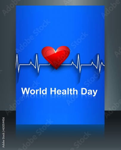 Beautiful brochure Heart beats World health day template reflect
