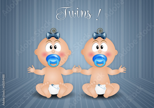 Newborn postcard with twin boys