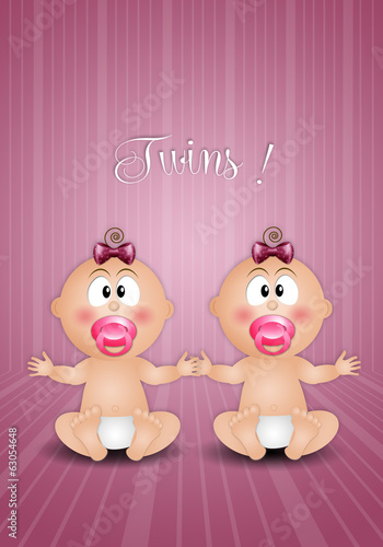 Newborn postcard with twin girls