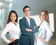 Young diverse business work team