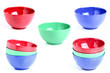 Collage of three colored bowls.