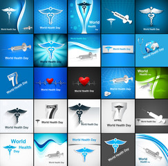World health day collection set background presentation concept