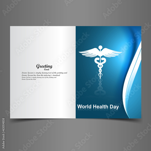 Medical symbol greeting card caduceus reflection world health da