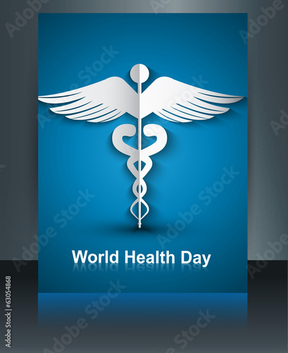 Medical template with brochure Caduceus medical symbol world hea