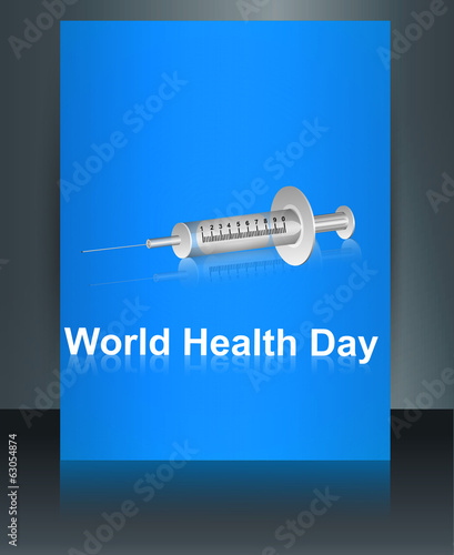 World health day brochure syringe reflection template colorful m