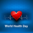 World health day concept with heart beats blue colorful medical