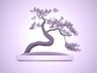 Bonsai tree rendered on purple