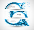 Beautiful header set blue stylish grunge wave vector