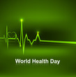 World health day medical concept with heart beats green colorful