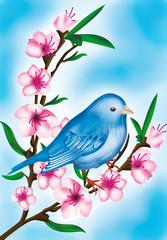 uccellino con fiori
