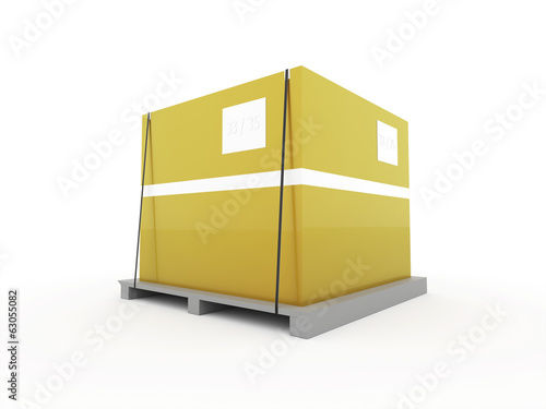 Yellow box on palette isolated